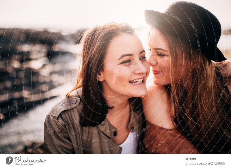 Two female best friends having fun together Lifestyle Joy Leisure and hobbies Beach Human being Feminine Young woman Youth (Young adults) Woman Adults