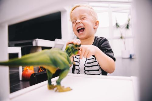 Little boy playing with dinosaur toys Joy Happy Leisure and hobbies Playing Child Boy (child) Toys Smiling Laughter Scream Funny Dinosaur little boy Offspring