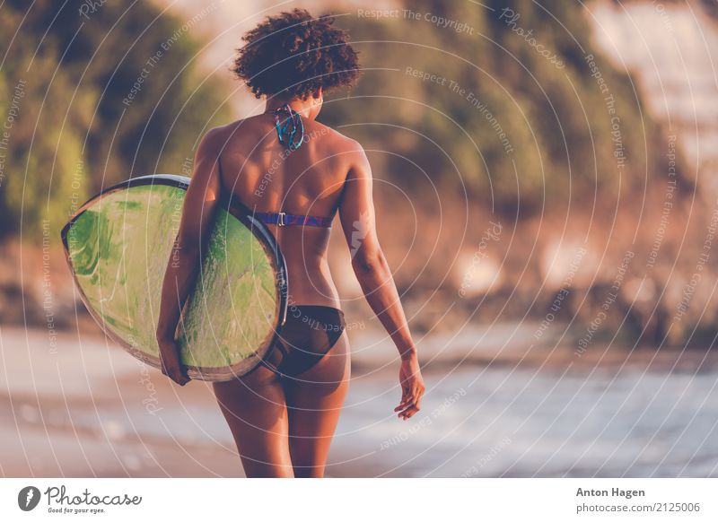 To the beach and back Athletic Wellness Summer Summer vacation Sun Beach Ocean Island Waves Aquatics Young woman Youth (Young adults) 1 Human being