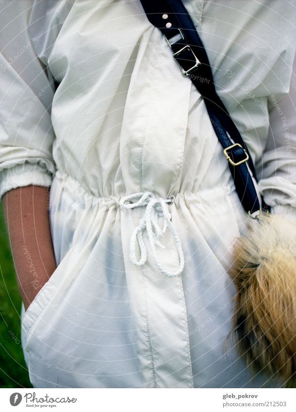 white Human being Woman Adults Arm Clothing Pelt Varnish Style Documentary Pro Colour photo Close-up Copy Space right Neutral Background Day Deep depth of field