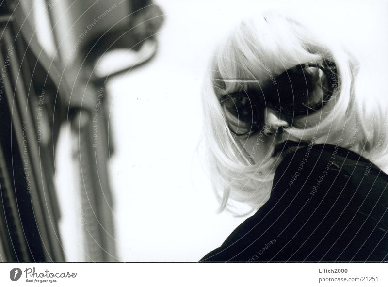 Blondie 1 Woman Blonde Wig Feminine Sunglasses Facade Black & white photo