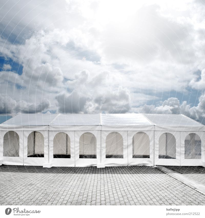 The party's over. Lifestyle Elegant Style Joy Event Feasts & Celebrations White Tent partyed Clouds in the sky Colour photo Multicoloured Exterior shot Deserted