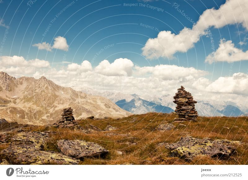 Thoughts collection point Nature Sky Clouds Sunlight Summer Beautiful weather Grass Alps Mountain Vacation & Travel Lanes & trails Austria Pile of stones Stone