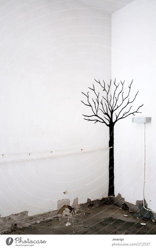 White Tree Black Loneliness Cold Autumn Wall (building) Emotions Wall (barrier) Graffiti Flat (apartment) Art Lifestyle Gloomy Broken Change