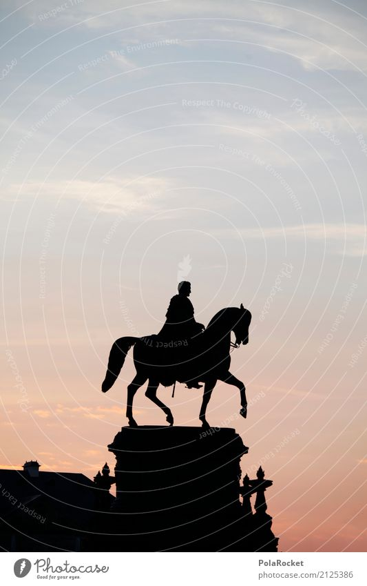 #A# He's riding there Art Esthetic Rider Equestrian statue Dresden Old town Dawn Silhouette Idyll Symbols and metaphors Might Culture Tourist Attraction