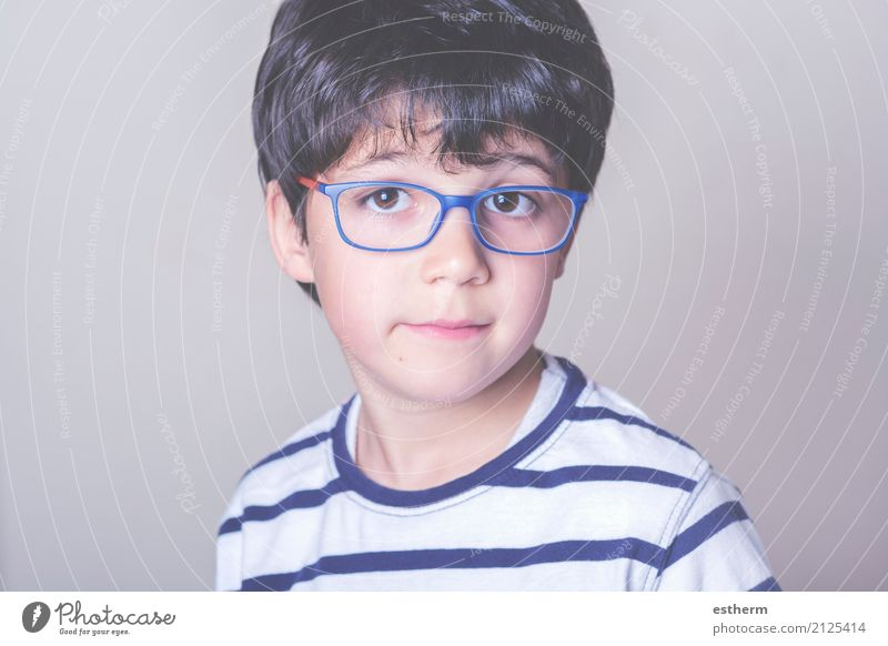 Happy boy with glasses Human being Child Joy Life Lifestyle Funny Love Emotions Boy (child) Masculine Dream Contentment Infancy Smiling Happiness