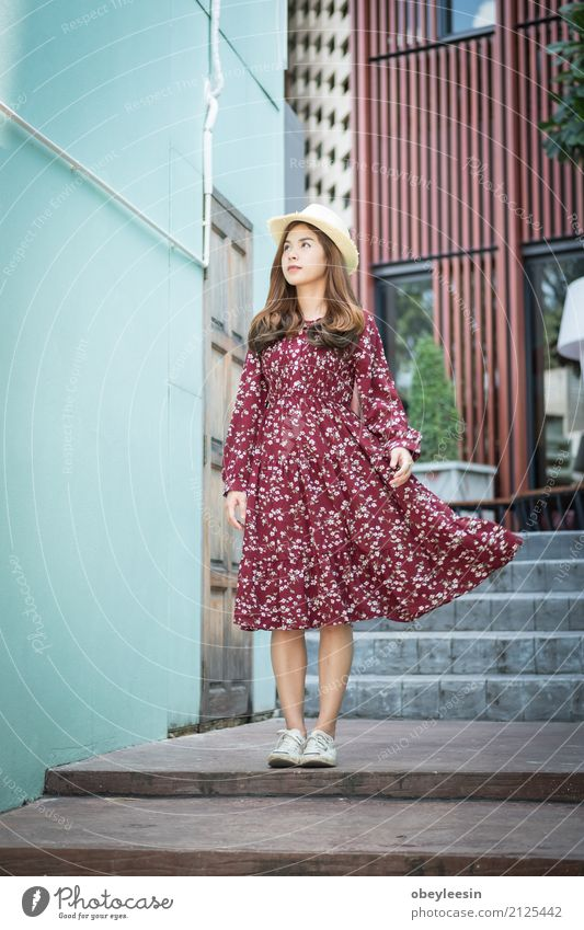 beautiful young asian girl have Woman Summer Beautiful Green Calm Joy Face Adults Street Lifestyle Natural Happy Business Park Smiling Beverage