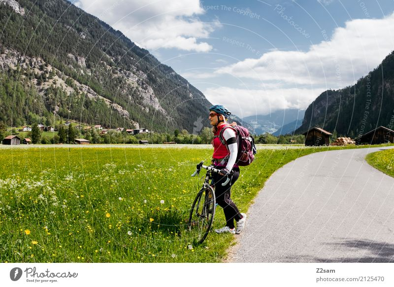First break Leisure and hobbies Vacation & Travel Trip Cycling tour Summer vacation Sports Young woman Youth (Young adults) 18 - 30 years Adults Backpack