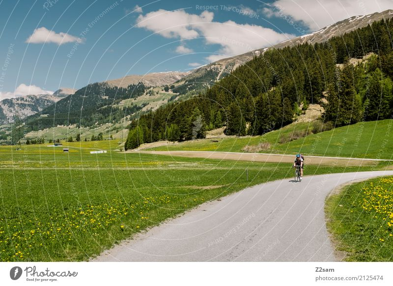 Direction Italia Vacation & Travel Cycling tour Summer Young woman Youth (Young adults) Nature Landscape Sky Beautiful weather Alps Mountain Backpack Relaxation