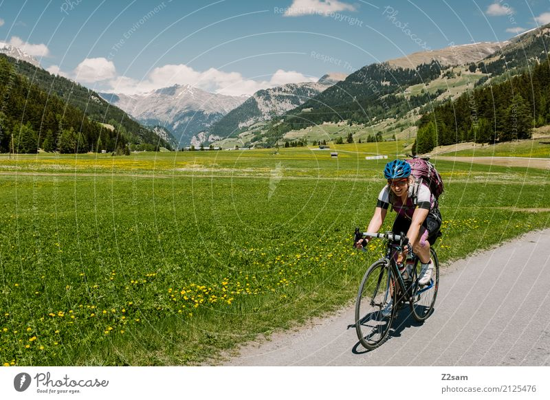 3rd stage Vacation & Travel Adventure Cycling tour Summer vacation Young woman Youth (Young adults) 18 - 30 years Adults Nature Landscape Beautiful weather