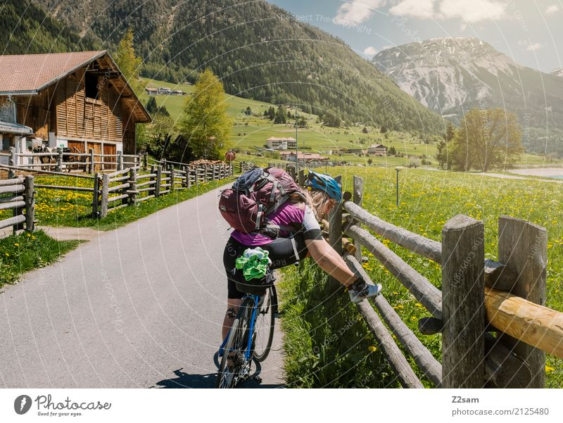 Sky Nature Vacation & Travel Youth (Young adults) Young woman Summer Sun Landscape 18 - 30 years Mountain Adults Meadow Leisure and hobbies Bicycle Blonde