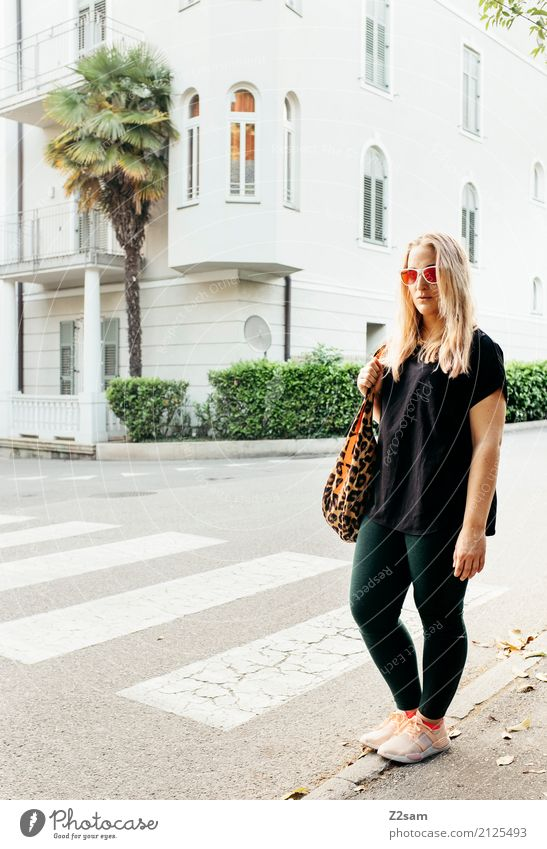 Vacation & Travel Youth (Young adults) Young woman Summer Beautiful 18 - 30 years Adults Street Lifestyle Style Fashion Modern Elegant Blonde Stand