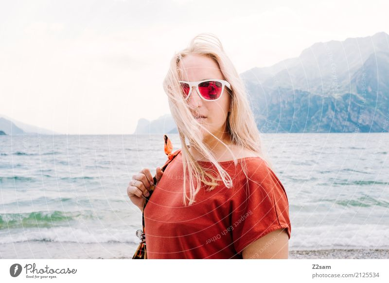 Nature Vacation & Travel Youth (Young adults) Young woman Summer Beautiful Landscape Red 18 - 30 years Mountain Adults Lifestyle Natural Style Fashion Lake