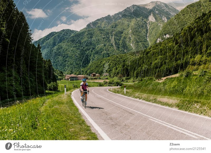 Always further Leisure and hobbies Vacation & Travel Cycling tour Summer vacation Young woman Youth (Young adults) 18 - 30 years Adults Nature Landscape