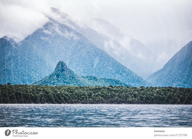 manapouri Nature Landscape Water Clouds Summer Virgin forest Peak Lake Manapouri Green New Zealand South Island Fiordland National Park Hill Wanderlust Fog