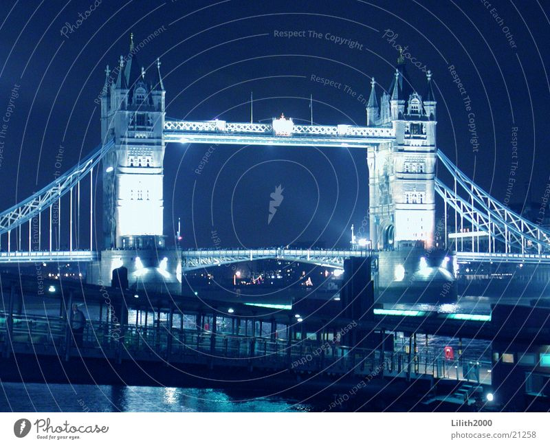 Lighting Europe River London England Themse Tower Bridge