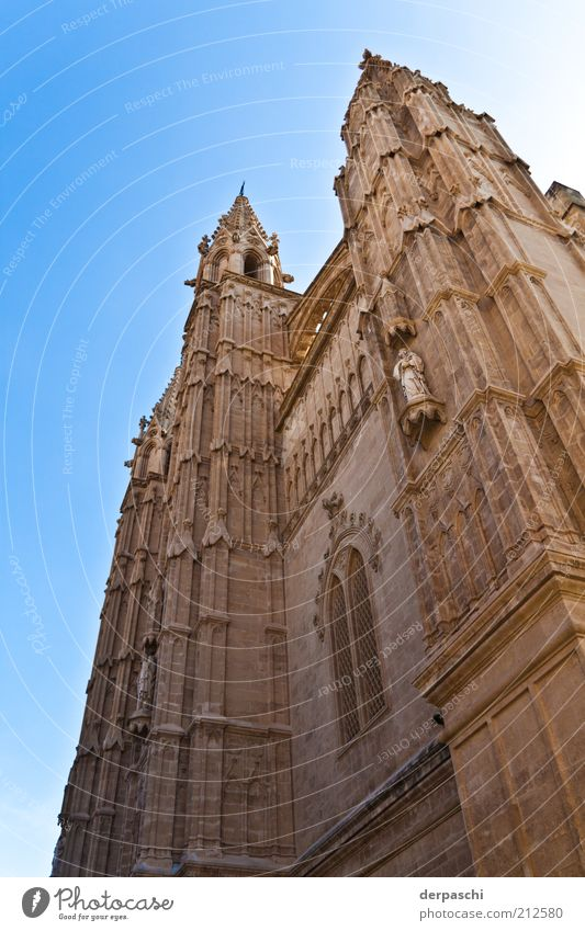 cathedral Palma de Majorca Church Manmade structures Building Architecture Tourist Attraction Old Blue Brown Colour photo Exterior shot Deserted Day Sunlight