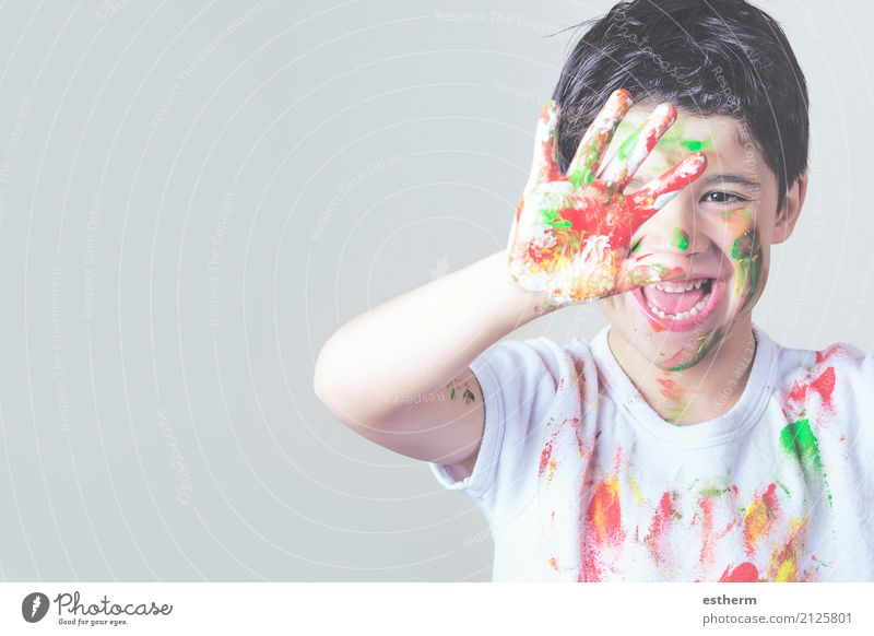 happy child covered in paint Human being Child Joy Lifestyle Funny Emotions Laughter Playing Party Contentment Infancy Smiling Happiness Adventure Curiosity