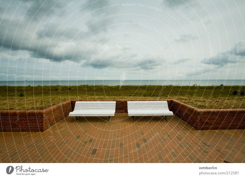 Two benches, one sea Vacation & Travel Ocean Environment Nature Landscape Sky Clouds Summer Baltic Sea Far-off places Longing Wanderlust Loneliness
