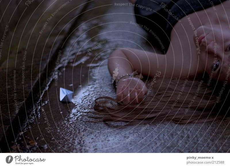 When the soul capsizes Human being Feminine Young woman Youth (Young adults) Hair and hairstyles 1 Lie Rain Paper boat Dirty Black Dress Distress Exterior shot