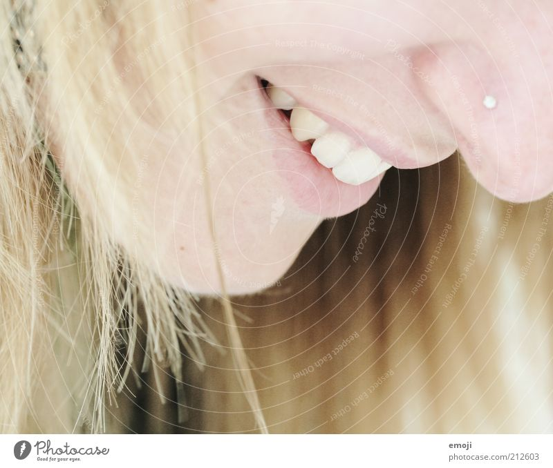 Youth (Young adults) Feminine Mouth Blonde Nose Happiness Teeth Friendliness Positive Smiling Long-haired Piercing Young woman Human being Profile