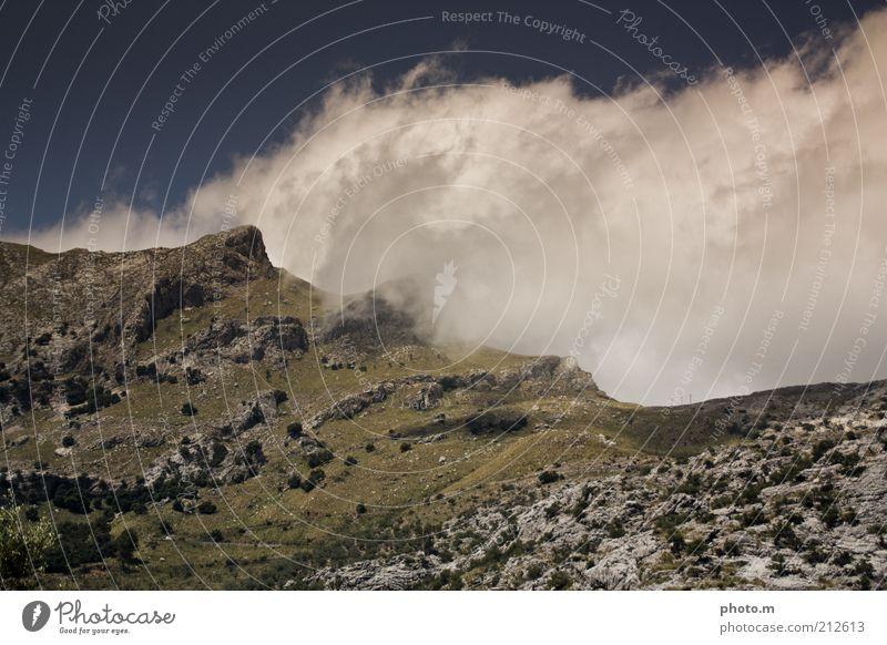 Nature Clouds Mountain Landscape Weather Environment Rock Hill Peak Spain Majorca Mountain ridge Clouds in the sky Change in the weather Mountain cloud
