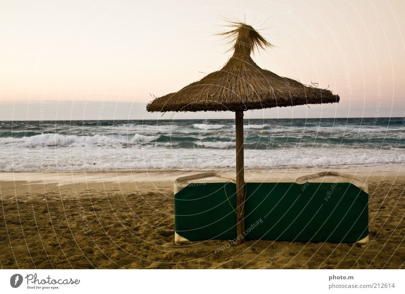 beach party Environment Nature Landscape Sand Water Summer Waves Beach Ocean Vacation & Travel Majorca Spain Umbrellas & Shades Deckchair Colour photo