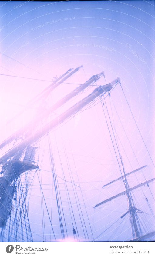 Blue Vacation & Travel Colour Far-off places Dream Bright Pink Kitsch Harbour Beautiful weather Analog Navigation Sailing Mast Yacht