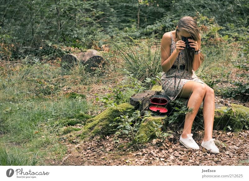 Human being Woman Vacation & Travel Youth (Young adults) Plant Beautiful Young woman Forest Adults Life Natural Leisure and hobbies Bushes Sit Footwear Vantage point