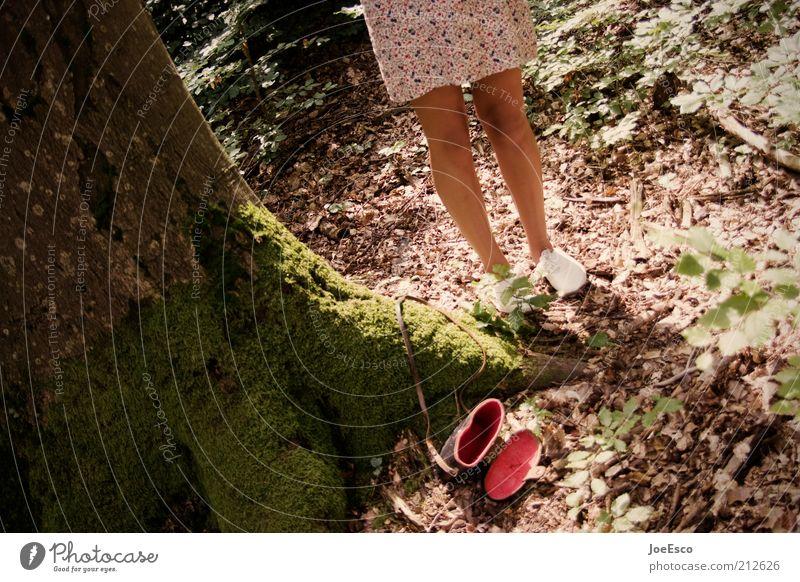 Little Red Riding Hood Summer Human being Feminine Woman Adults Life Legs Feet 1 Plant Tree Forest Footwear Hip & trendy Retro Dress Bag Colour photo