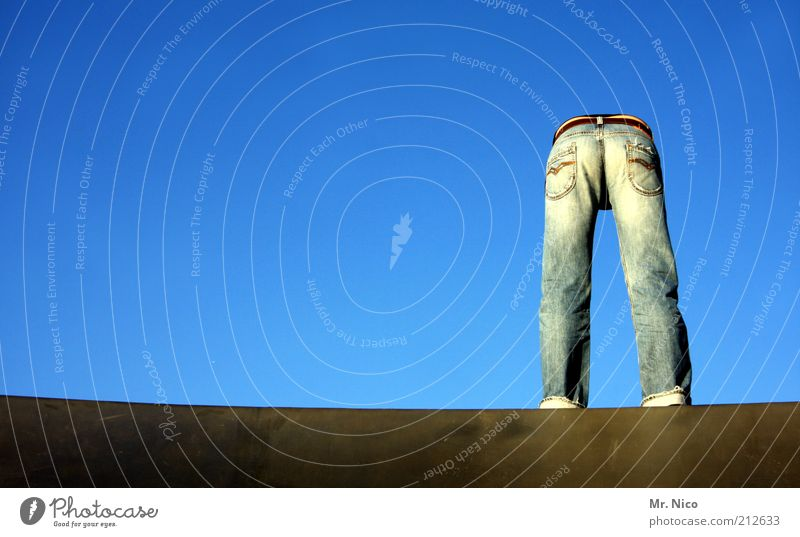 Blue Legs Fashion Clothing Crazy Perspective Jeans Bottom Stand Posture Hind quarters Thin Pants Copy Space left Trashy