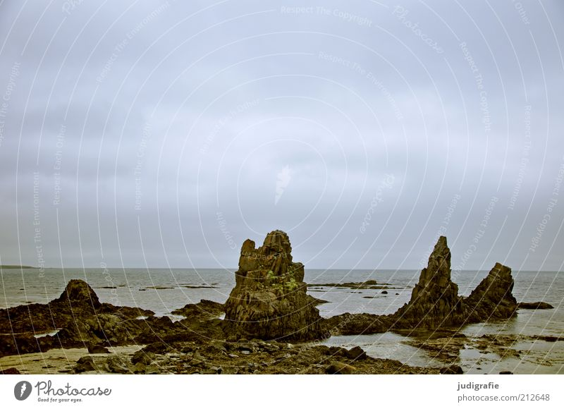 Nature Water Sky Ocean Calm Clouds Dark Landscape Moody Environment Rock Climate Wild Natural Idyll Iceland