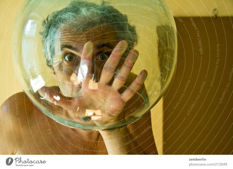 Two thousand - a new chapter Dive Man Adults Head Face Eyes Hand Fingers 45 - 60 years Helmet Aquarium Glass Sphere Breathe Whimsical Divide Asphyxiate