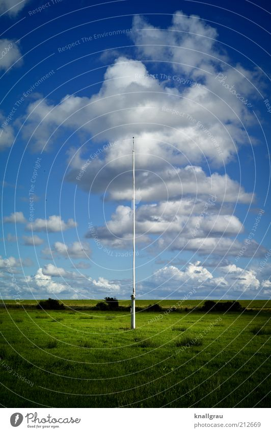 unflagged Landscape Relaxation Flagpole Clouds Sky North Sea Empty Calm Dike Meadow Ocean Island Middle Far-off places Vacation & Travel Leisure and hobbies