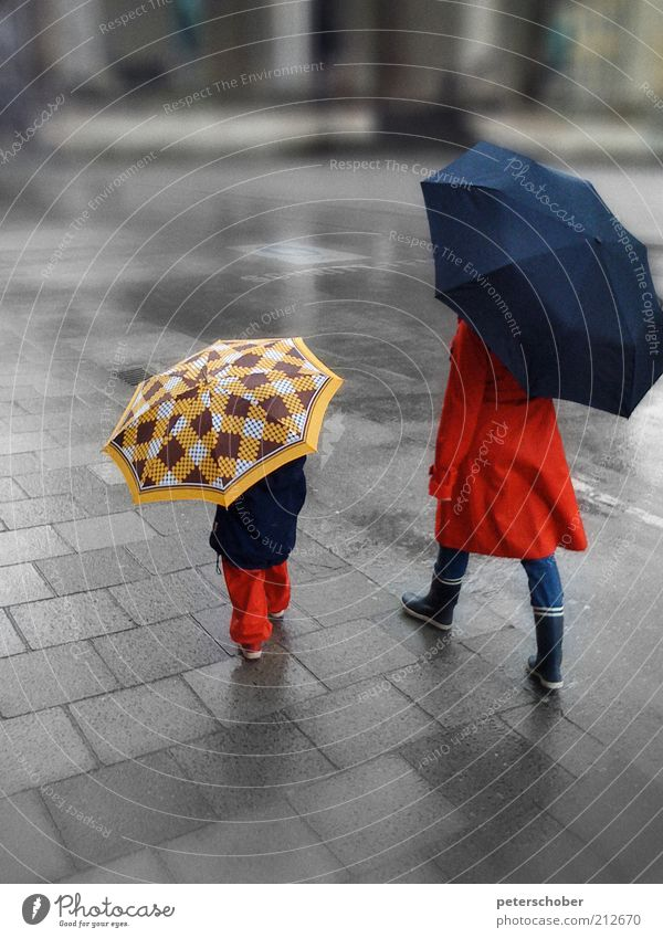 Human being Child Blue Red Summer Adults Street Freedom Style Rain Parents Family & Relations Infancy Umbrellas & Shades Wet Hiking