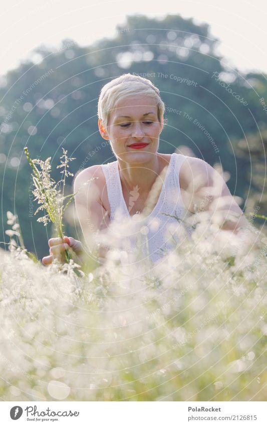 #A# Big garden Art Work of art Esthetic Grass Meadow Meadow flower Woman Pick Crouch Crouching Nature Exterior shot Park Idyll Weekend Relaxation Colour photo