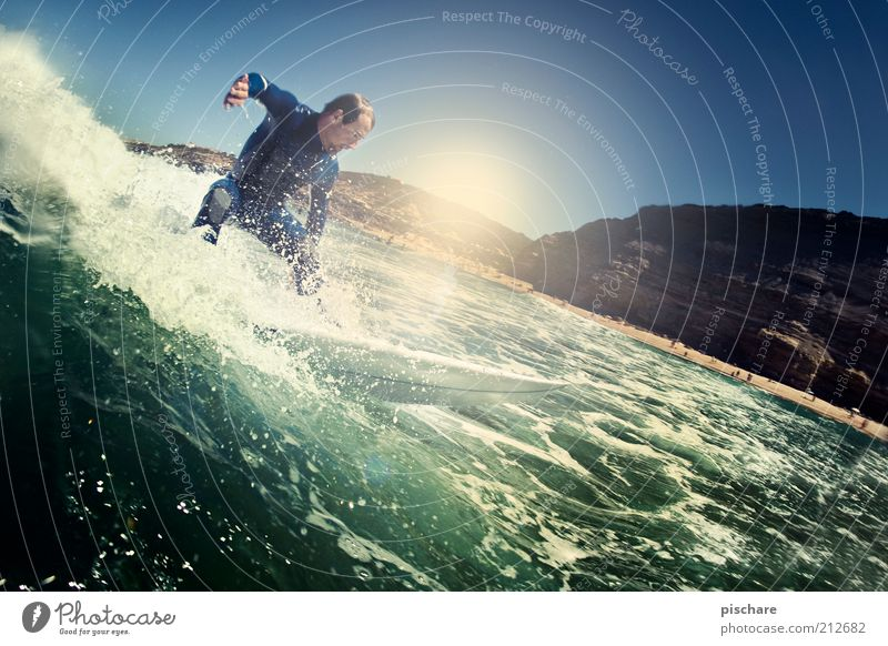 top turn Lifestyle Leisure and hobbies Aquatics Masculine Man Adults Elements Water Drops of water Summer Beautiful weather Waves Coast Ocean Movement Sports
