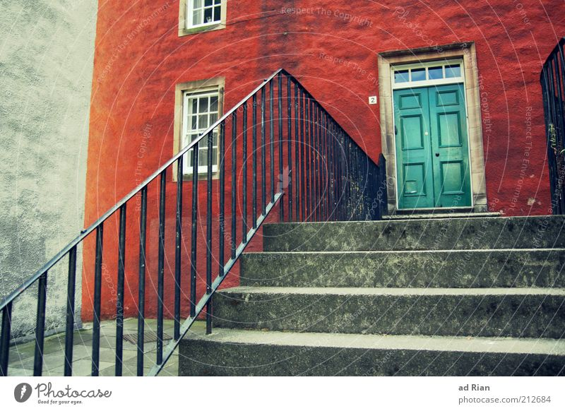 Closed Edinburgh Scotland House (Residential Structure) Wall (barrier) Wall (building) Stairs Window Door Esthetic Colour photo Banister Wooden door Swing door
