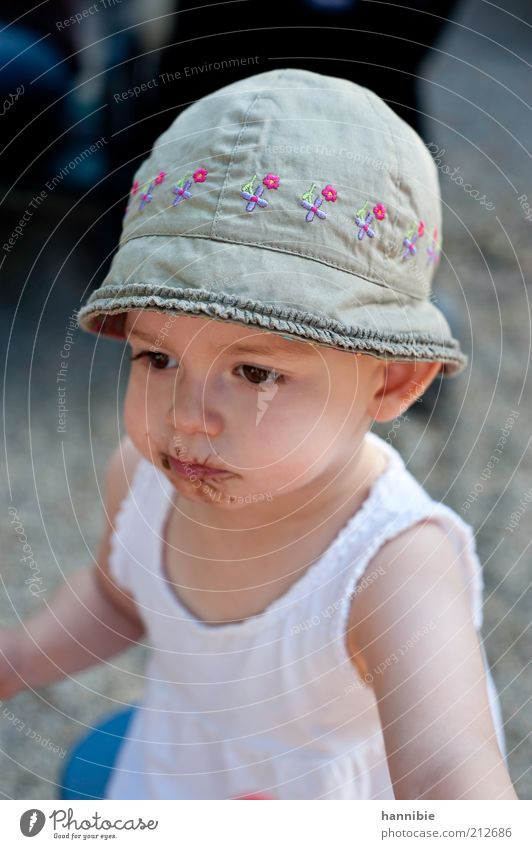 Human being Child White Girl Playing Gray Infancy Pink Cute Meditative Concentrate Toddler Hat Shirt Chocolate Earnest