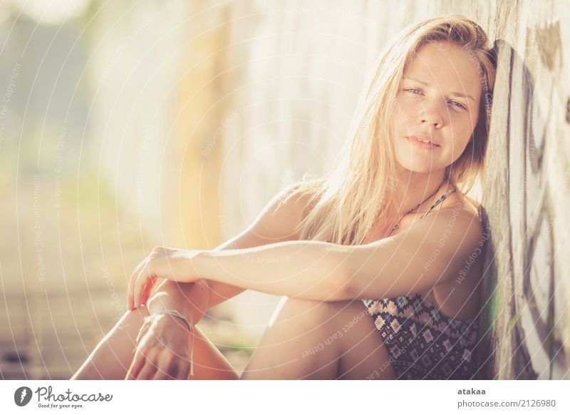portrait of a beautiful blonde girl Lifestyle Elegant Style Joy Happy Beautiful Hair and hairstyles Face Relaxation Summer Sun Human being Woman Adults Nature