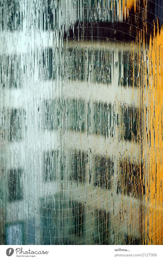 Summer rain I Bad weather Rain House (Residential Structure) Manmade structures Building Architecture Window Town Precipitation Glazed facade Smear Colour photo