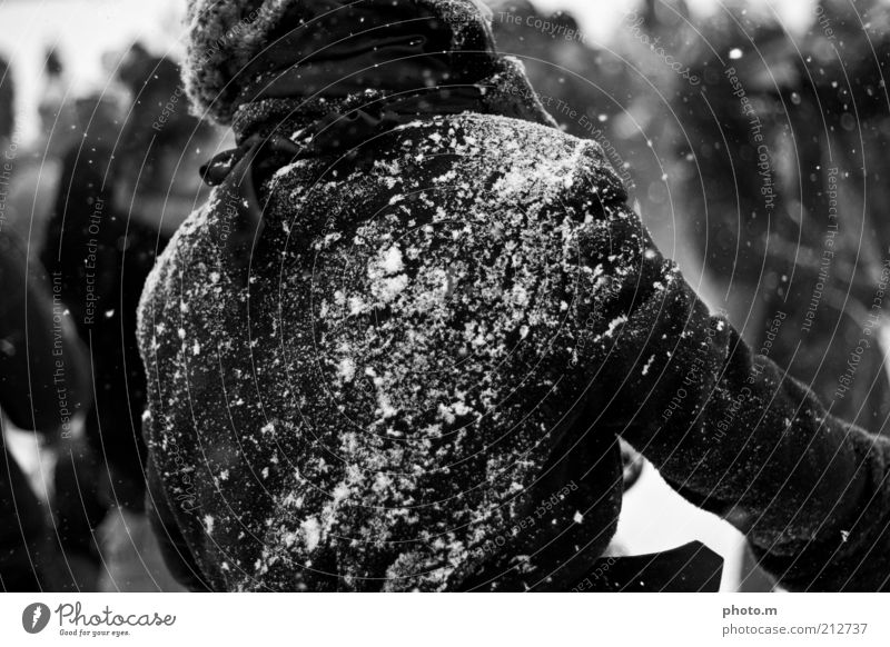snowball fight Snowball fight Human being Masculine 1 Throw Coat Black & white photo Exterior shot Day Shallow depth of field Jacket Snowfall Winter Rear view