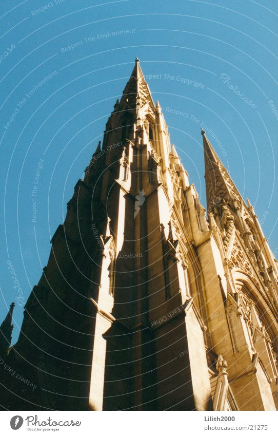 Architecture Religion and faith Upward New York City Manhattan Section of image Partially visible Cathedral House of worship Skyward Neogothic Church spire Bright background St. Patrick's cathedral