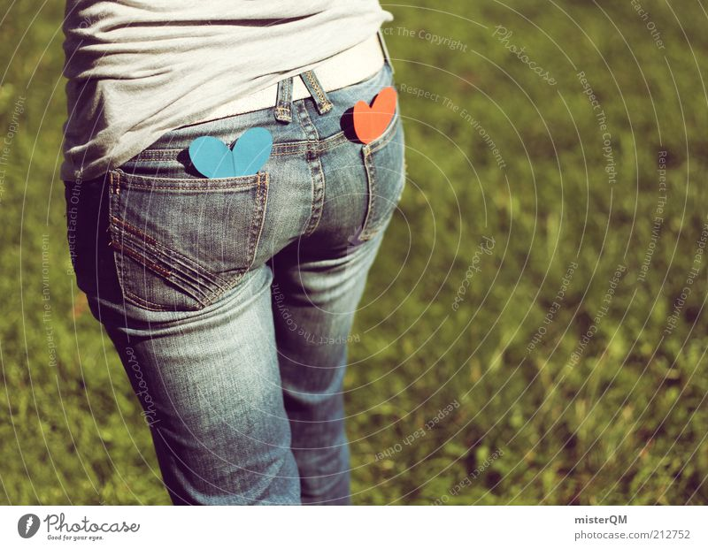 Woman Blue Red Love Meadow Emotions Grass Contentment Heart Design Esthetic Jeans Bottom Lawn Hind quarters