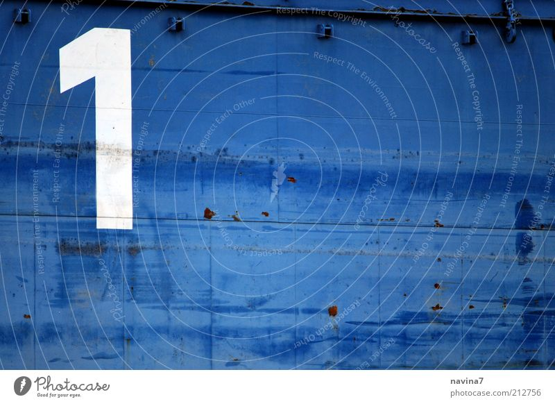 Number one. Metal Characters Digits and numbers Signs and labeling Sharp-edged Positive Blue White Colour Colour photo Exterior shot Detail Deserted