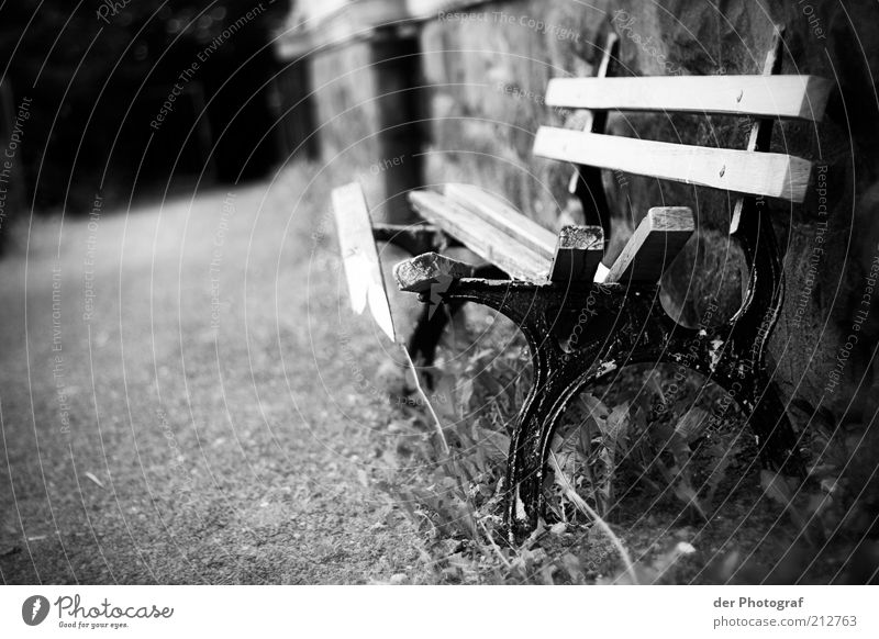 Old Wood Wall (barrier) Lanes & trails Metal Gloomy Bench Broken Decline Wooden board Black & white photo Park bench