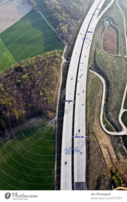 Forest Freedom Lanes & trails Landscape Field Transport Ground Highway Aerial photograph Street Traffic infrastructure Detached Copy Space left