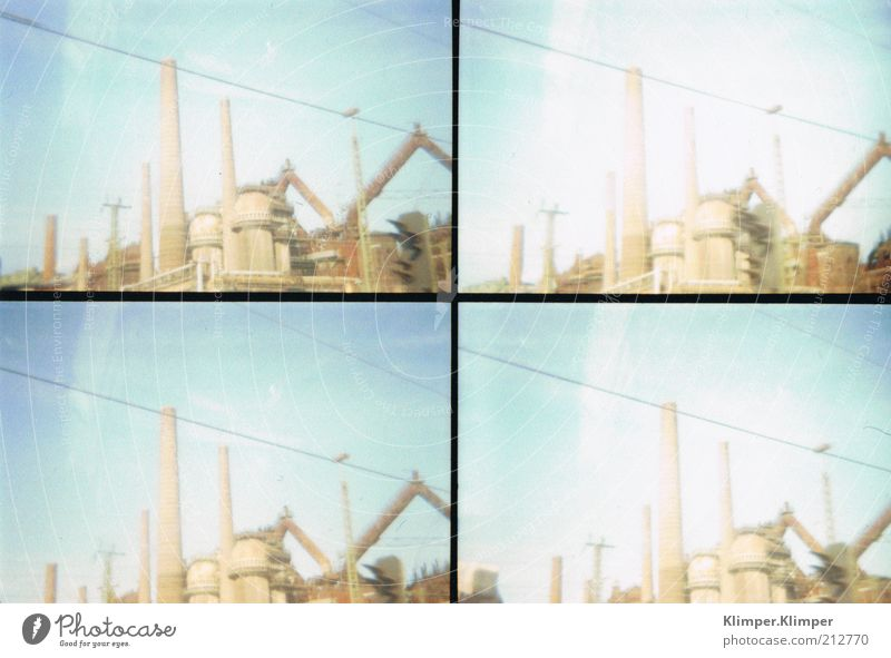 Saar landscape Factory Industry Sky Summer Manmade structures Architecture Old Retro Subdued colour Exterior shot Experimental Lomography Structures and shapes