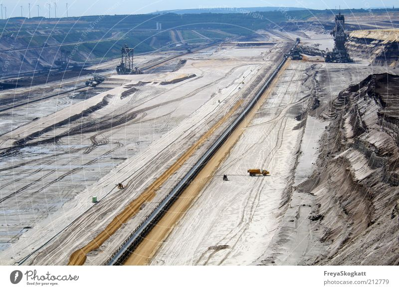 The big hole Energy industry Coal power station Industry Industrial plant Work and employment Large Blue Brown Destruction Soft coal mining Earth Mining Hollow