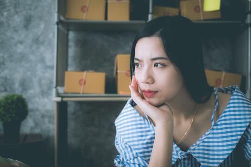 asian woman sitting alone in the house Face Human being Man Adults Transport Heart Think Sadness Cry Poverty Anger Pain Loneliness Fear Distress Force Hatred